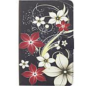Для samsung galaxy tab e 9.6 крышка случая цветок узор окрашенный карта стент кошелек pu кожа материал плоский защитный чехол