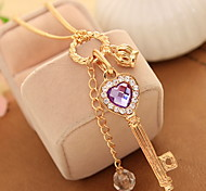 Long Purple Crystal Love Crown Key Necklace Pendant Sweater Chain Necklace Adjustable Dangling Gifts for the Party Women Jewelry
