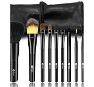 4 Makeup Brush Set Horse Synthetic Hair Travel Portable Wood Face Eye
