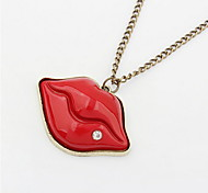 Exaggerate Lips Euramerican Long Chain Pendant Sweater Chain Necklace Women Office Lady Jewelry