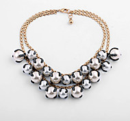 Women's Statement Necklaces Round Chrome Unique Design Personalized White Jewelry For Gift Outdoor 1pc