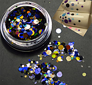 1bottle моды красочные смешанных размеров ногтей красоты лазерного блеска раунд блестка ломтик украшения p7