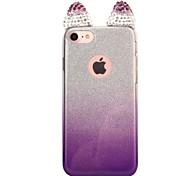 Para o iphone da maçã 7 7 mais 6s 6 mais a tampa do caso as orelhas de gato flash a perfuração o pó do flash gradient a caixa do telefone