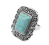 Toonykelly® Vintage Look Antique Silver Alloy Square Turquoise Stone Free Size Ring(1PC)