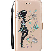 For Samsung Galaxy S8 Plus S8 Case Cover Butterfly Girl Pattern Embossed Flash Powder PU Skin Material Card Stent Phone Case S7 S6 Edge S7 S6 S5