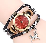 Top Women Premium Genuine Leather Watch Triple Bracelet Watch Horse Charm Wristwatch Fashion Para Femme