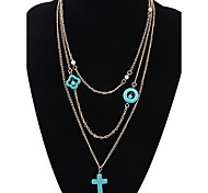 Cross Mmultiple Sets of Chain Layered Necklaces Africa Euramerican Long Choker Pendant Sweater Chain Necklace