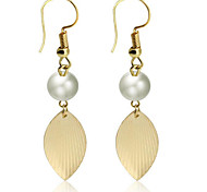 May Polly Simple golden leaf Pearl Earrings
