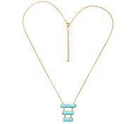 Women's Pendant Necklaces Rectangle Chrome Unique Design Personalized Light Blue Jewelry For Housewarming Congratulations Casual 1pc