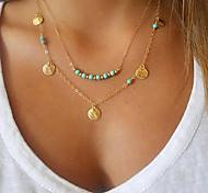 Жен. Ожерелья с подвесками Бирюза Бижутерия Позолота Бирюза Сплав Базовый дизайн Двойной слой По заказу покупателя Мода бижутерия