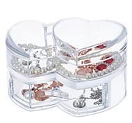 Acrylic Transparent Large Capacity Loving Heart Makeup Cosmetics Jewelry Storage Box Cosmetic Organizer Jewelry Display Box with Lid&Drawer