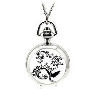 Men's Skeleton Watch Pocket Watch Quartz Alloy Band Silver