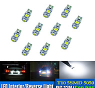 10pcs t10 5 * 5050 smd tabula rasa decoding geführtes Auto Glühlampe weißes Licht dc12v