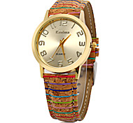 Women's Women Fashion Watch Chinese Quartz Wooden Leather Band Vintage Stripe Multi-Colored