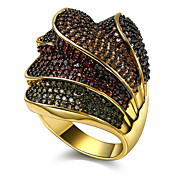 Women Big Rings Beautiful 4 Layers Overlapping Design Deluxe 4 Colors Synthetic Cubic Zirconia Paved Black Gold-color