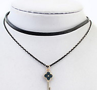 Key Leather Choker Pendant Sweater Chain Necklace Multilayer  Layered Necklaces Women Office Lady Jewelry