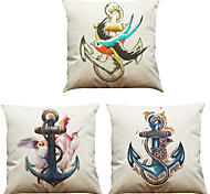 Set of 3 Oil Painting Retro Anchor  Pattern  Linen Pillowcase Sofa Home Decor Cushion Cover