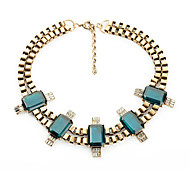 Women's Strands Necklaces Square Chrome Unique Design Fashion Dark Green Jewelry For Birthday Thank You Daily 1pc