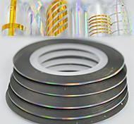 100pcs / box 1mm 20m моды радуги игристых фольги полосатая лента линии украшения ногтей искусство DIY красоты лазер серебряный блеск