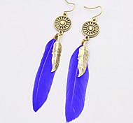 New Bohemian Style Vintage Drop Long Earrings Fashion Feather Dangle Earrings For Women Hollow Round Rhinestone Metal Leaves Earrings Jewelry