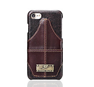 Fierre Shann Brand For Card Holder Case Back Cover Case Solid Color Hard Genuine Leather for Apple iPhone 7 Plus iPhone 7