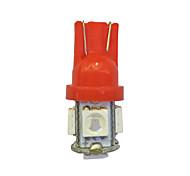 10шт t10 5 * 5050 smd светодиодная лампа автомобиля красный свет dc12v