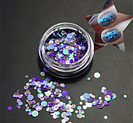 1Bottle Fashion Clear Style Blue Nail Art Mixed Colorful Laser Glitter Round Slice Nail Art Beauty Paillette P16