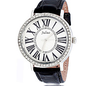 Women's Fashion Watch Japanese Quartz Water Resistant / Water Proof Leather Band Sparkle Black White Red Brown