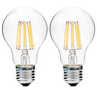 8W Bombillas de Filamento LED A60(A19) 8 COB 600 lm Blanco Cálido Blanco V 2 piezas