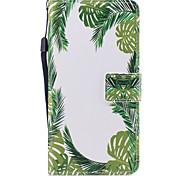 Для apple iphone 7 7 плюс 6s 6 плюс se 5s 5 чехол для корпуса зеленые листья узор окрашены pu кожа материал карта стент кошелек телефон
