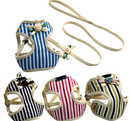 Summer New Adjustable Collar Lead Pet Harness Vest & Leash Cute Flower Stripe Dog Harness For Small Dogs Chihuahua Teddy Cat pet