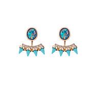 Fashion Lady Crystal Studs Ear Jacket Earrings Back Ear Cuffs Stud Earrings