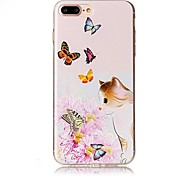 For iPhone 7 Plus 7 Embossed Cat Butterfly Pattern High Quality TPU Soft Phone Case 6 Plus 6S 6 SE 5