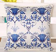 1 Pcs Top Grade Emulation Silk Pillow Cover Blue Flowers Pillow Case