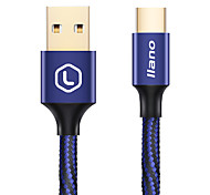 llano Phone USB Cable Type C 3A Quick Charge Braided Gold Plated Cable For Samsung Huawei LG Lenovo Xiaomi 300cm Aluminum Nylon