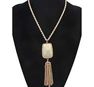 Court Long Tassels Necklace Y-Necklaces Opal  Long Necklace Women's Jewelry Gifts Casual Bohemia Pendant Chain Necklaces