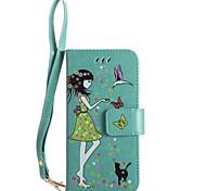 Para iphone 7plus 7 caixa de telefone material de couro para pupo caixa de telefone luminoso e celular padrão de mulher e gato 6s mais