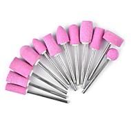 12PCS  Nail Art Quartz Pink Grinding Head The Polishing Head Suit