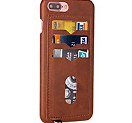 For iPhone 7 iPhone 7 Plus Case Cover Card Holder Back Cover Case Solid Color Hard PU Leather for iPhone 6s Plus iPhone 6