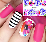 Flower Pattern Nail Water Decals Transfer Sticker Romantic Blue Red Painting Nail Art Decorations XF1405