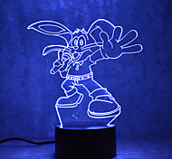 Christmas Rabbit Touch Dimming 3D LED Night Light 7Colorful Decoration Atmosphere Lamp Novelty Lighting Christmas Light