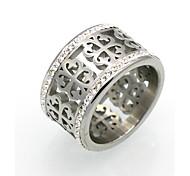 Жен. Для пары Классические кольца Массивные кольца Кольцо Цирконий Круглый дизайн Уникальный дизайн Геометрический Двойной слой Мода