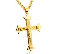 Муж. Ожерелья с подвесками Треугольной формы Титановая сталь бижутерия Крест Массивные украшения Бижутерия Назначение Для вечеринок День