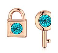 Stud Earrings Drop Earrings New Mismatching Asymmetry Earrings Fashion Crystal Champagne Lock The Keys Shape For Women Party Daily Gift Jewelry