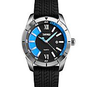 Men's Wrist watch Quartz Silicone Band Black