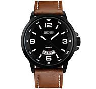 Men's Wrist watch Quartz Genuine Leather Band Black Brown