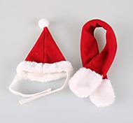 Кошка Собака Банданы и шляпы Одежда для собак Рождество Сплошной цвет Красный