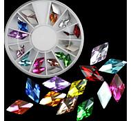 24pcs 6*11mm Diamond Shaped Glass Special-Shaped Drill Nail Art Decoration Glitter Rhinestones