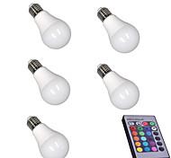 5pcs RGB with Memory Dimmable E27 LED Smart Bulbs A60(A19) RGB Remote-Controlled Home Christmas Decorative RGB Led Lamp AC85-265V