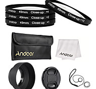 Andoer 49mm Close-up Macro Lens Filter Set with Lens Accessories Lens Pouch Collapsible Lens Hood  Lens Cap Lens Cap Holder  Cleaning Cloth